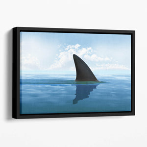 Shark fin above water Floating Framed Canvas