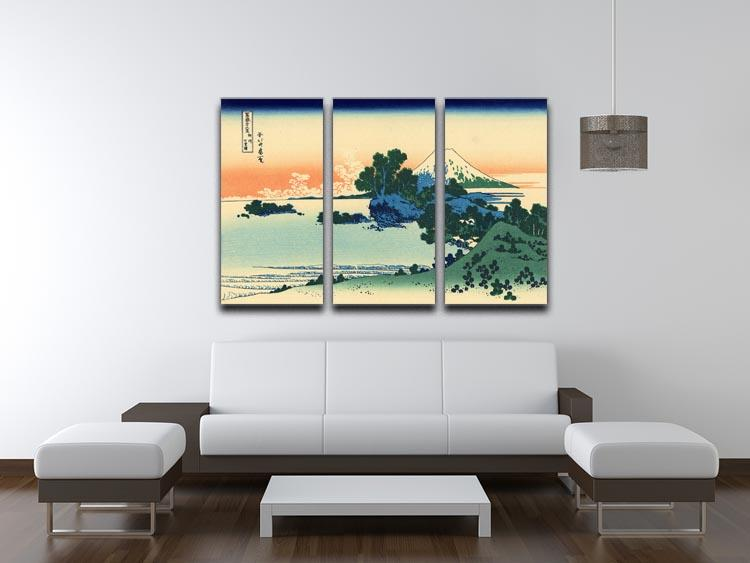 Shichiri beach in Sagami province by Hokusai 3 Split Panel Canvas Print - Canvas Art Rocks - 3