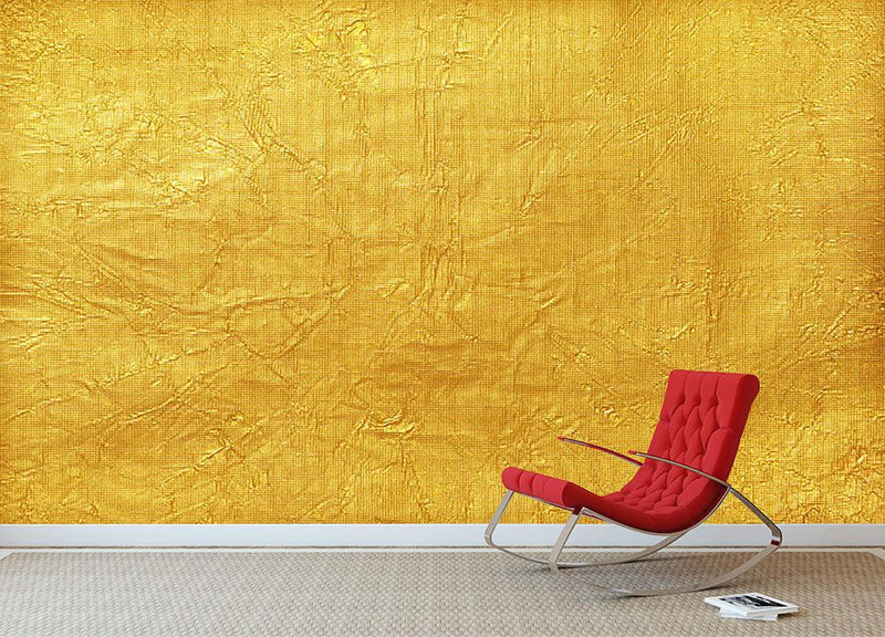 Shiny yellow leaf Wall Mural Wallpaper - Canvas Art Rocks - 1