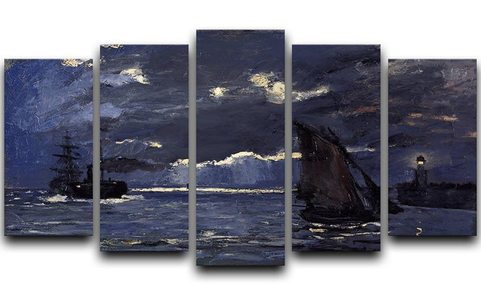 Shipping by Moonlight by Monet 5 Split Panel Canvas
