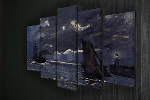 Shipping by Moonlight by Monet 5 Split Panel Canvas - Canvas Art Rocks - 2
