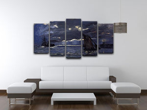 Shipping by Moonlight by Monet 5 Split Panel Canvas - Canvas Art Rocks - 3