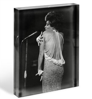 Shirley Bassey on stage Acrylic Block - Canvas Art Rocks - 1