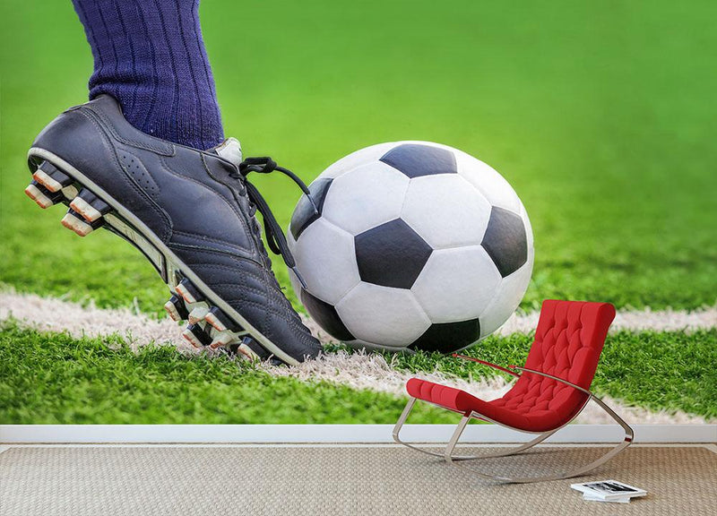 Shoot a soccer ball Wall Mural Wallpaper - Canvas Art Rocks - 1