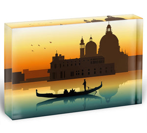 Silhouette illustration gondola in Venice Acrylic Block - Canvas Art Rocks - 1