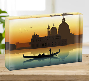 Silhouette illustration gondola in Venice Acrylic Block - Canvas Art Rocks - 2