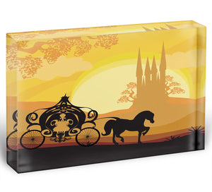 Silhouette of a horse carriage Acrylic Block - Canvas Art Rocks - 1