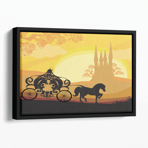 Silhouette of a horse carriage Floating Framed Canvas