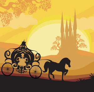 Silhouette of a horse carriage Wall Mural Wallpaper - Canvas Art Rocks - 1