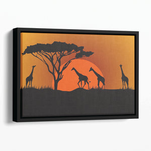 Silhouettes of giraffes in safari sunset Floating Framed Canvas