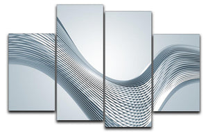 Silver Wave 4 Split Panel Canvas - Canvas Art Rocks - 1