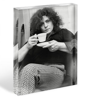 Singer Marc Bolan with tea Acrylic Block - Canvas Art Rocks - 1