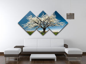 Single blossoming tree in spring 4 Square Multi Panel Canvas  - Canvas Art Rocks - 3