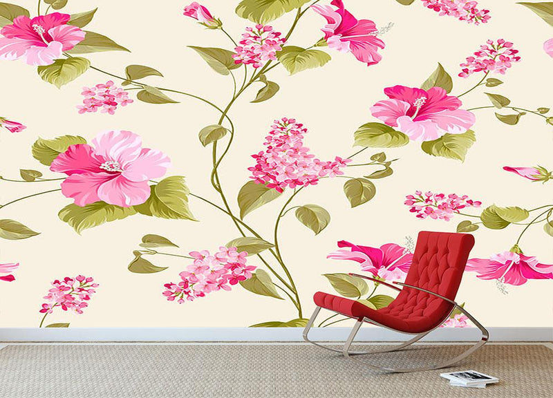 Siringa and hibiscus flower Wall Mural Wallpaper - Canvas Art Rocks - 1