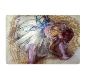 Sitting dancer lacing her slipper by Degas HD Metal Print - Canvas Art Rocks - 1