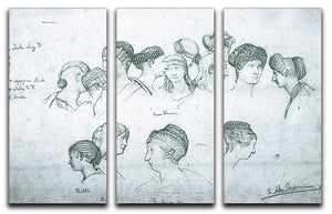 Sketch of hairstyles from ancient sculptures by Alma Tadema 3 Split Panel Canvas Print - Canvas Art Rocks - 1