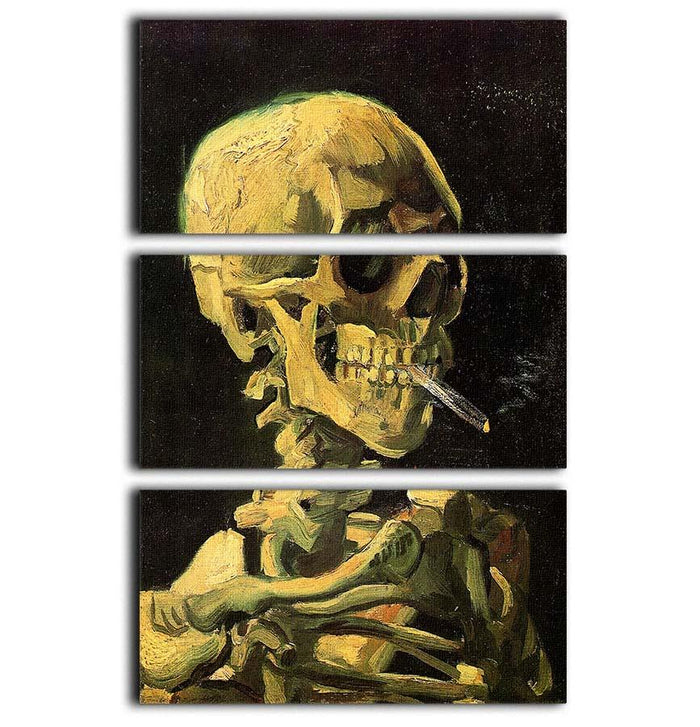 Skull with Burning Cigarette by Van Gogh 3 Split Panel Canvas Print
