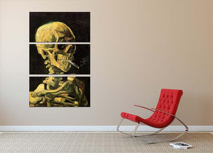Skull with Burning Cigarette by Van Gogh 3 Split Panel Canvas Print - Canvas Art Rocks - 2