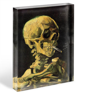 Skull with Burning Cigarette by Van Gogh Acrylic Block - Canvas Art Rocks - 1