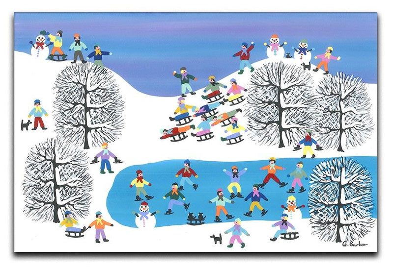 Sledding down the hill by Gordon Barker Canvas Print or Poster - Canvas Art Rocks - 1