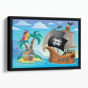 Small pirate island theme 2 Floating Framed Canvas