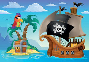 Small pirate island theme 2 Wall Mural Wallpaper - Canvas Art Rocks - 1