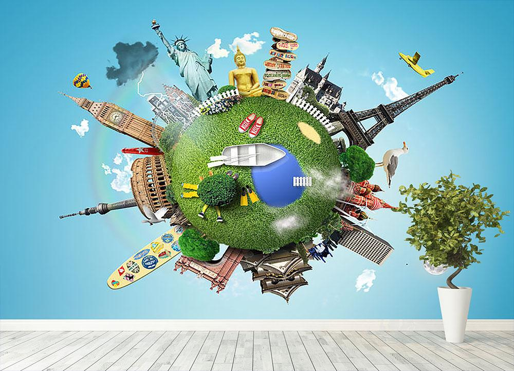 Small Planet With Landmarks Around The World Wall Mural