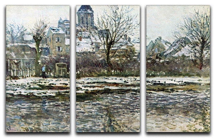 Snow in Vetheuil by Monet Split Panel Canvas Print