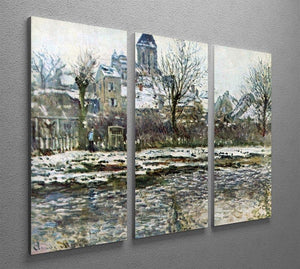 Snow in Vetheuil by Monet Split Panel Canvas Print - Canvas Art Rocks - 4