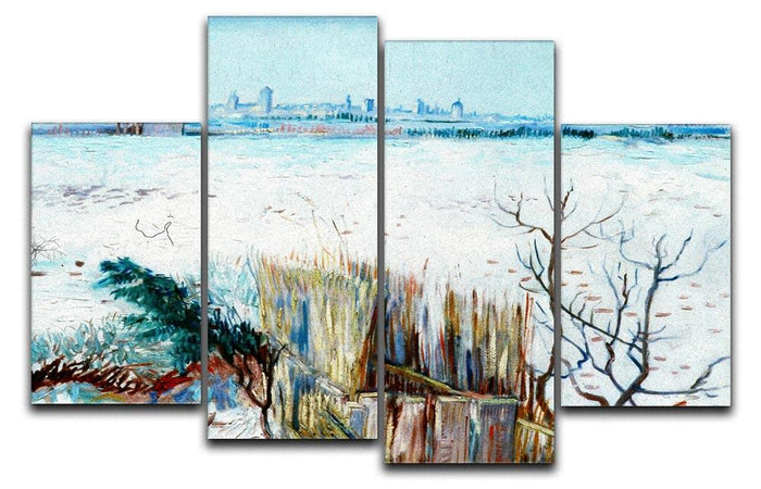 Snowy Landscape with Arles in the Background by Van Gogh 4 Split Panel Canvas