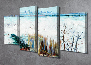 Snowy Landscape with Arles in the Background by Van Gogh 4 Split Panel Canvas - Canvas Art Rocks - 2