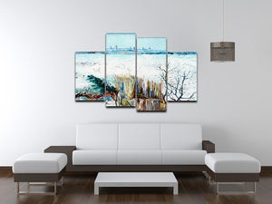 Snowy Landscape with Arles in the Background by Van Gogh 4 Split Panel Canvas - Canvas Art Rocks - 3