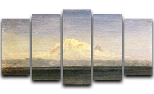Snowy Mountains in the Pacific Northwest by Bierstadt 5 Split Panel Canvas - Canvas Art Rocks - 1