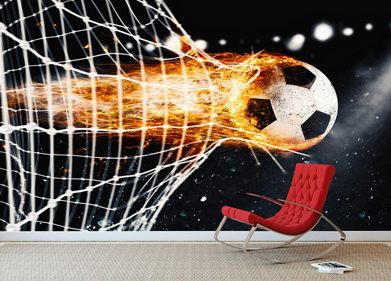 Soccer fireball scores a goal on the net Wall Mural Wallpaper - Canvas Art Rocks - 1