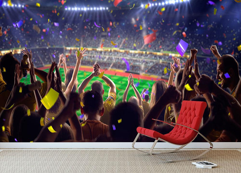 Soccer game Confetti and tinsel Wall Mural Wallpaper - Canvas Art Rocks - 1