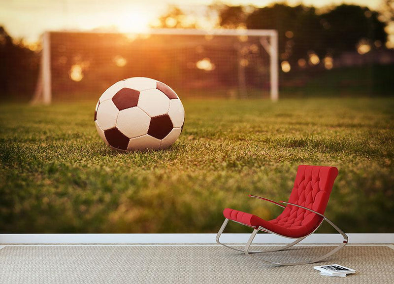 Soccer in the sunset Wall Mural Wallpaper - Canvas Art Rocks - 1