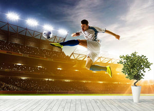 Soccer player in action Wall Mural Wallpaper - Canvas Art Rocks - 4