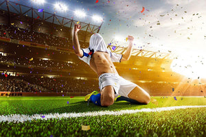 Soccer player in action on night stadium Wall Mural Wallpaper - Canvas Art Rocks - 1