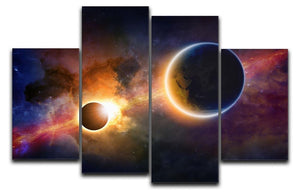Solar Eclipse Nebula and Stars 4 Split Panel Canvas  - Canvas Art Rocks - 1