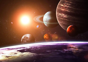 Solar system and space objects Wall Mural Wallpaper - Canvas Art Rocks - 1