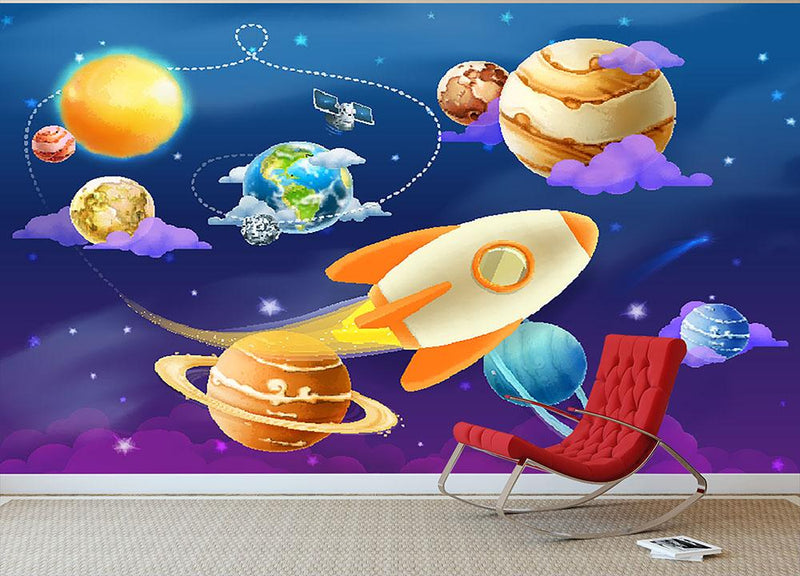 Solar system of planets Wall Mural Wallpaper - Canvas Art Rocks - 1