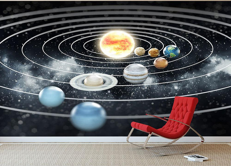 Solar system with eight planets Wall Mural Wallpaper - Canvas Art Rocks - 1