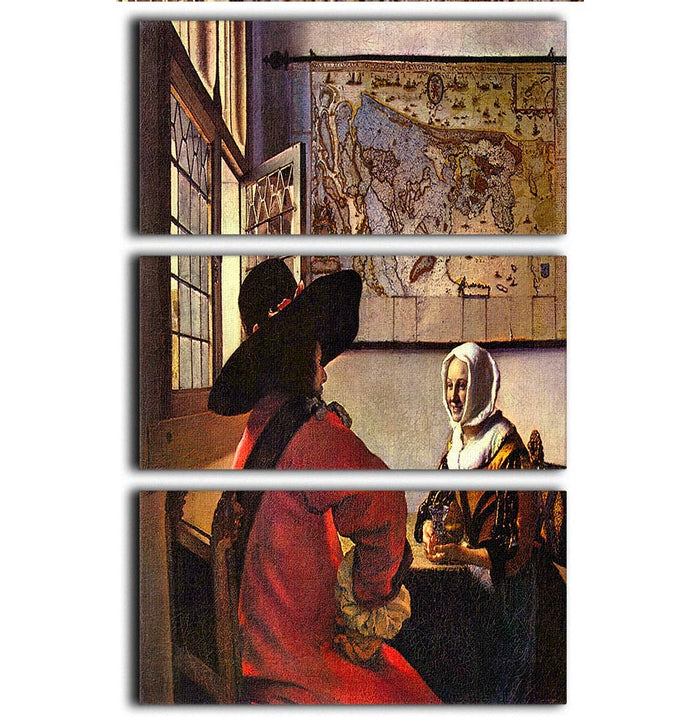 Soldier and girl smiling by Vermeer 3 Split Panel Canvas Print