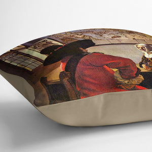 Soldier and girl smiling by Vermeer Cushion