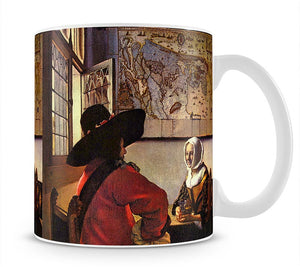 Soldier and girl smiling by Vermeer Mug - Canvas Art Rocks - 1