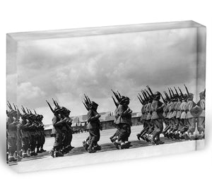 Soldiers marching in formation Acrylic Block - Canvas Art Rocks - 1