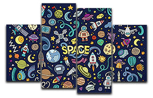 Space Doodles 4 Split Panel Canvas  - Canvas Art Rocks - 1