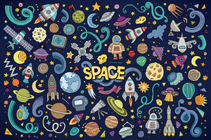 Space Doodles Wall Mural Wallpaper - Canvas Art Rocks - 1
