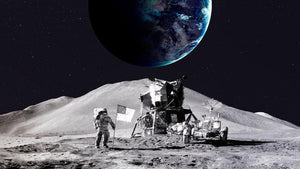 Space Man On The Moon Wall Mural Wallpaper - Canvas Art Rocks - 1