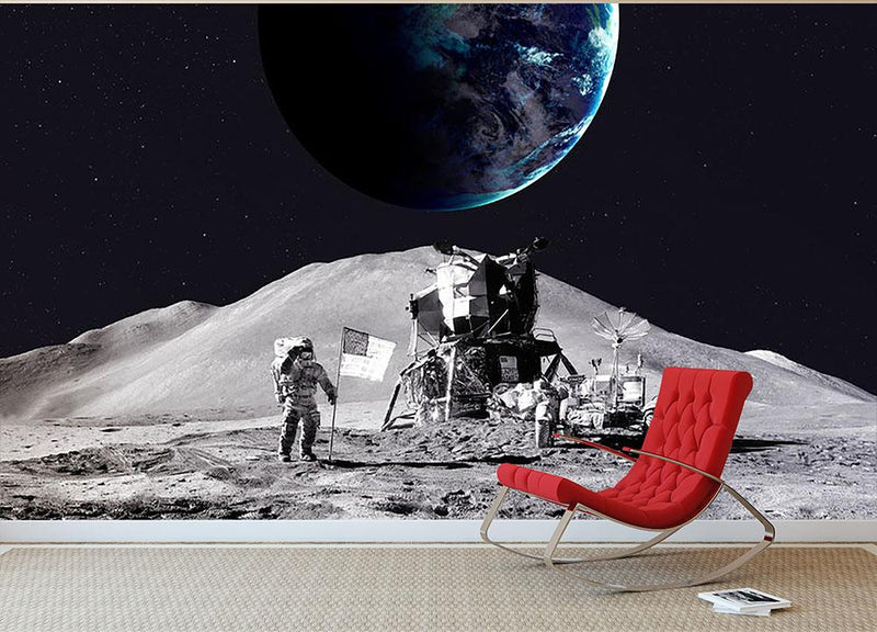 Space Man On The Moon Wall Mural Wallpaper - Canvas Art Rocks - 2